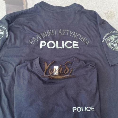 T-Shirt με κέντημα σημάτων ΕΛ.ΑΣ. και Σωφρ.Ιδρυμάτων
